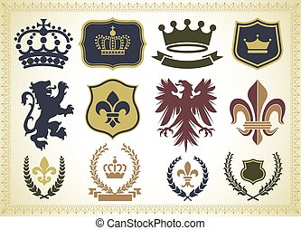 Heraldry Ornaments - Vector Heraldry Ornaments Isolated on a...
