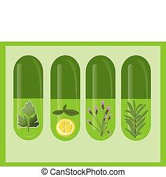 Herbal medicine with herbs and lemon