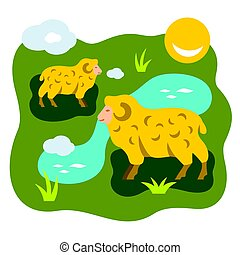 Vector Herd of sheep on a meadow. Flat style colorful Cartoon illustration.