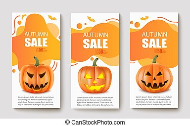 vector, herfst, halloween, banieren, moderne, abstract, realistisch, illustratie, pumpkins., sale.