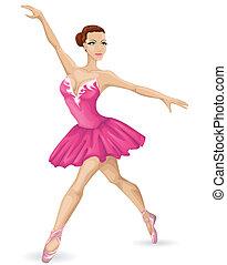 vector, hermoso, bailarina, ilustración