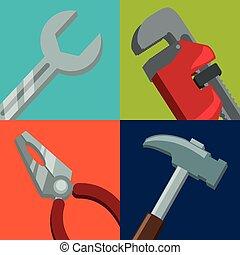 vector, herramientas, diseño, illustration.