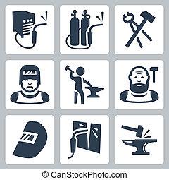 vector, herrero, conjunto, soldador, iconos