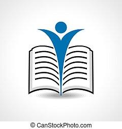 vector, het boek van de lezing, pictogram, liggen