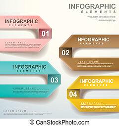 vector, het vouwen, abstract, etiket, infographic, communie