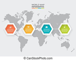 Vector hexagon elements for infographic.