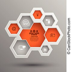 Vector hexagon group with icons