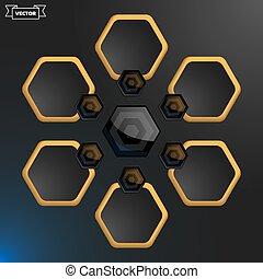 Vector hexagon infographic design template. Vector illustration.