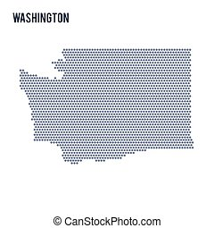 Vector hexagon map of State of Washington on a white background