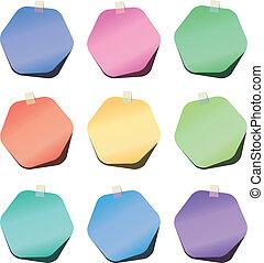 vector hexagon paper notes