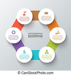 Vector hexagon with circles for infographic.