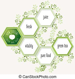 Vector hexagons for your text and icon of raw cuisine
