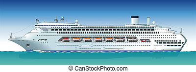 Hi-detailed cruise ship. Available EPS-10 vector format sparated by groups and layers for easy edit