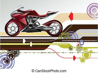vector, hi-tech, abstract, fiets, achtergrond, image.