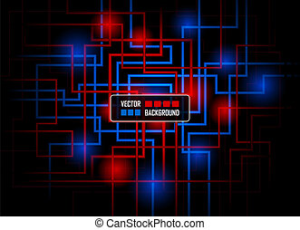 Vector hi-tech concept against dark background, colored in...