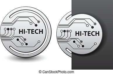 vector hi-tech round circuit board attached labels