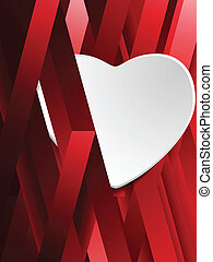 Hidden White Heart on Geometric Red Background