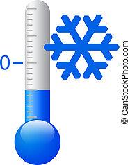 vector, hielo, frío, símbolo