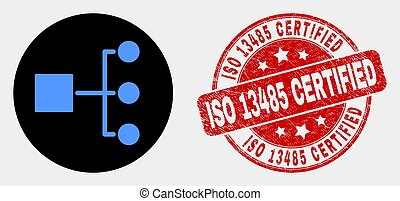 Vector Hierarchy Icon and Distress ISO 13485 Certified Stamp