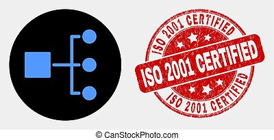 Vector Hierarchy Icon and Distress ISO 2001 Certified Watermark