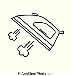 vector, hierro, icon-, vapor, ilustración