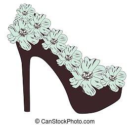 high heel shoe - vector high heel shoe with flowers