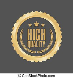Vector High Quality Gold Sign, Round Label
