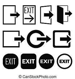 Vector high quality set of 11 different exit icons and buttons