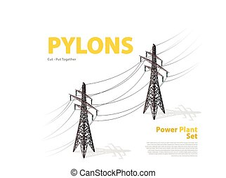 Vector high voltage pylon on white background, isometric 3d perspective.