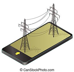 Vector high voltage pylons in mobile phone, isometric perspective.
