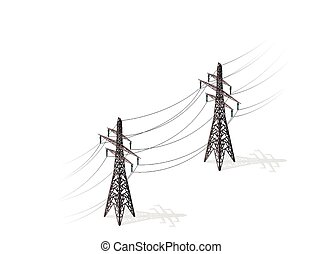 Vector high voltage pylons on white background, isometric 3d perspective.