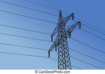 Vector high voltage towers with sky background.