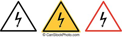 Vector high voltage warning sign. Warning icon.