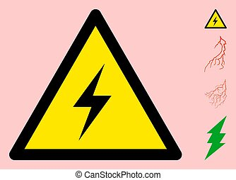 Vector High Voltage Warning Triangle Sign Icon