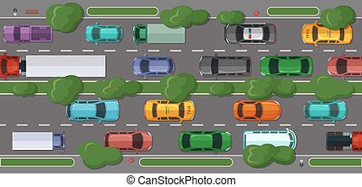 Vector highway with a lot of cars and vehicles