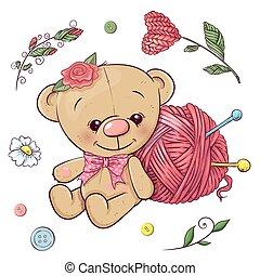 vector, hilo, conjunto, teddy, drawing., oso, mano, knitting., ilustración