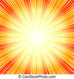 (vector), hintergrund, abstrakt, sunburst, orange