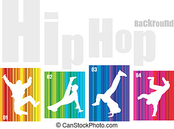 Vector hip-hop silhouette on abstract background. No...