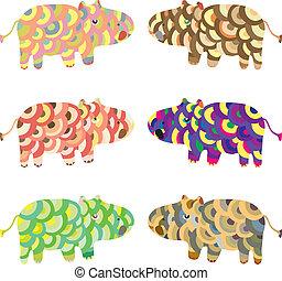vector, hipopótamo, conjunto, animales, caricatura