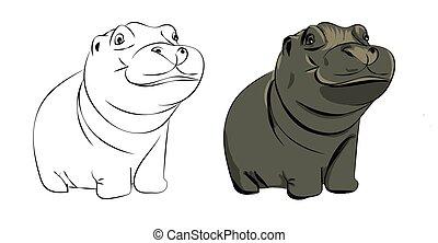 Vector hippopotamus baby cute illustration