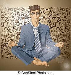 Vector Hipster Businessman in Lotus Pose Meditating