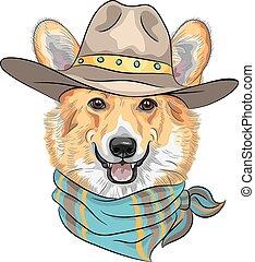 vector Hipster dog Pembroke Welsh corgi - Hipster dog...