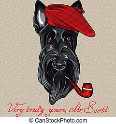 vector hipster dog Scottish Terrier - cartoon hipster dog...