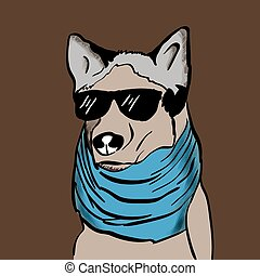hipster dog with blue scarf