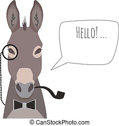 Vector hipster donkey wearing bowtie, monocle and pipe saying hello