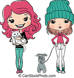 Vector hipster fashion cute girl wit pets