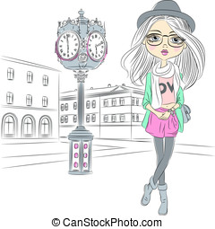 Vector hipster fashion girl near with a big clock - Cute...
