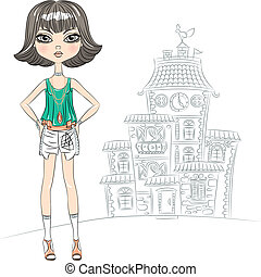 Vector hipster fashion girl top model in the city - hipster...