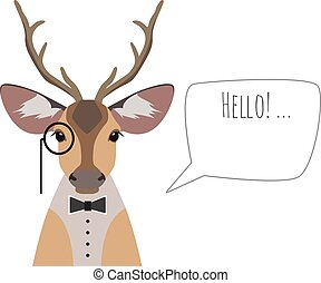 Vector hipster horned deer in suit, bowtie monocle saying hello