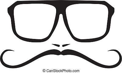 Vector hipster or geek glasses - Vector men face with long...